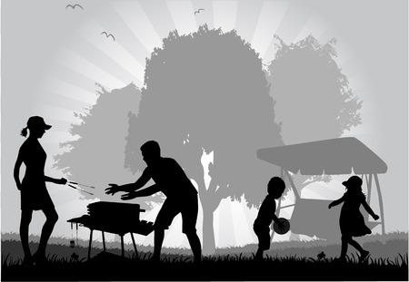 family picnic: Family picnic in the garden  Illustration