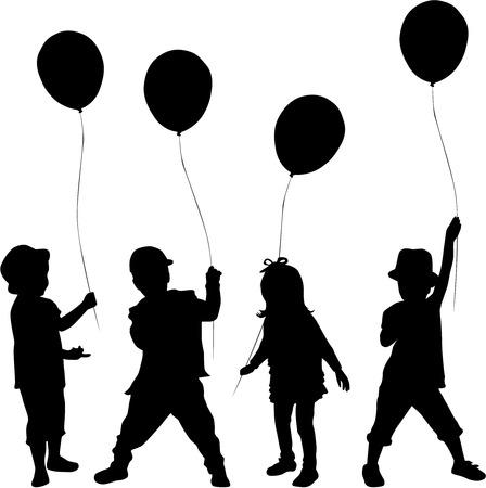 Silhouetten van kinderen met ballon. Stockfoto - 34388722