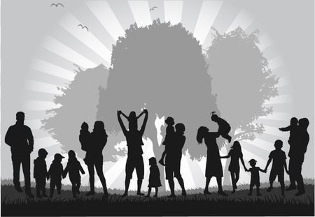 happy family nature: Family silhouettes Illustration