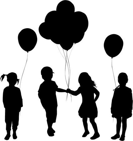 balloon girl: Silhouettes of children with balloon.