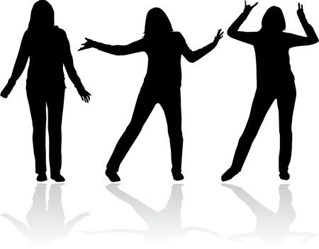 sexy teenage girl: Women silhouettes.