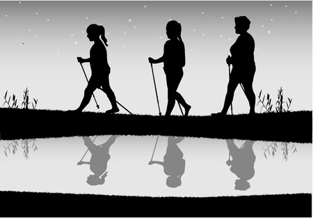 Vector silhouette of women with Nordic walking. Vettoriali