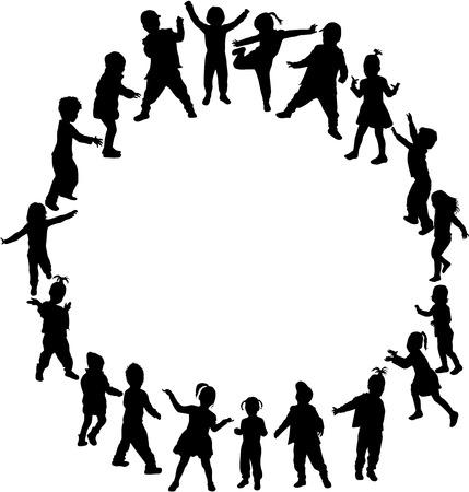 children silhouettes Ilustracja