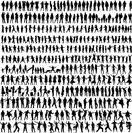 jumping: People Mix Silhouettes, vector work
