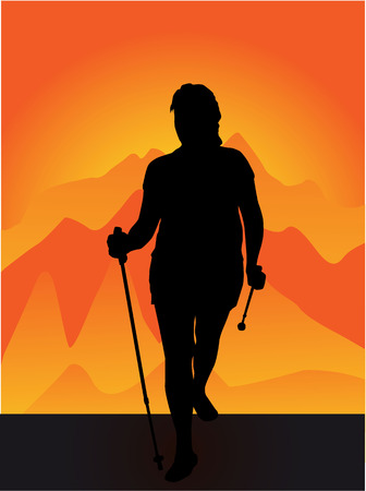 Vector silhouette of women with Nordic walking. 일러스트