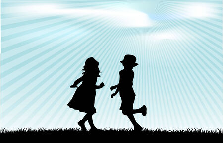 jogging in nature: children silhouette