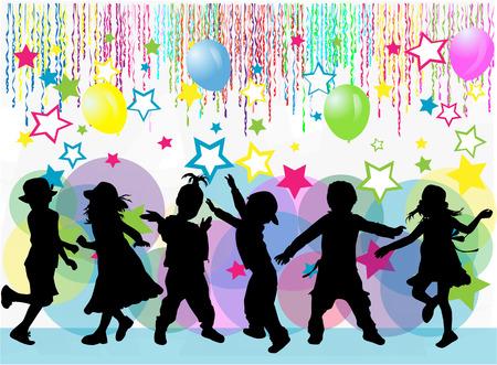 niños bailando: los niños silueta