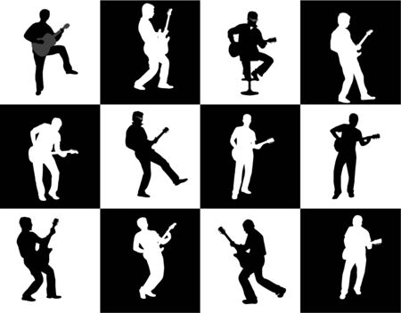 musically: guitar player silhouette set Illustration