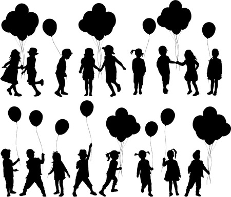 child care: Silhouettes of children with balloon.