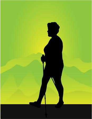 北欧のウォーキングを持つ女性のベクトル シルエット。