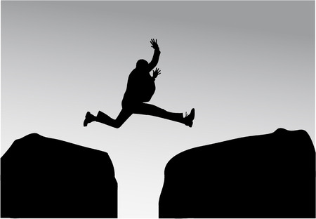 obstacles: Silhouette of a man in a jump