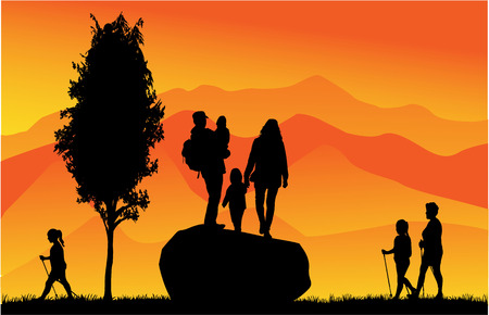 People in mountains Vector