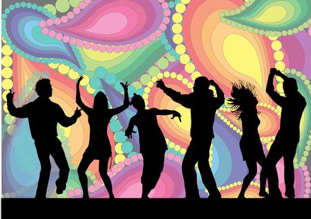 disco dancer: Dancing Silhouette- Illustration Illustration