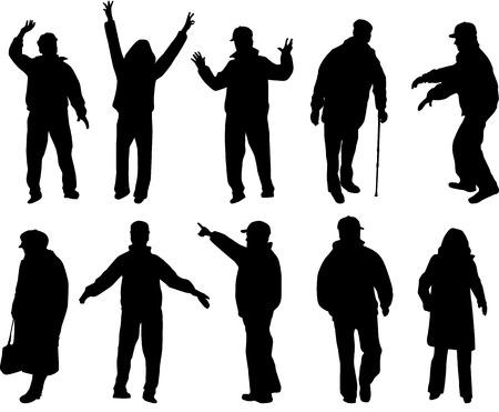 vejez feliz: .Silhouettes Mayores de personas.