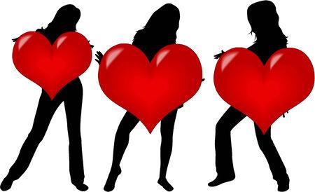 Muchachas con Corazón Foto de archivo - 35077757
