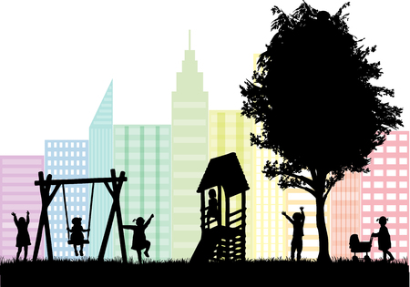 high rise: group of childrens silhouettes