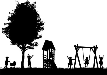 dancing silhouettes: Children at the playground.