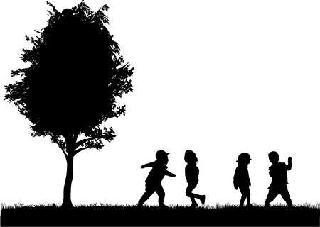 group of children's silhouettes Stock Vector - 35077849