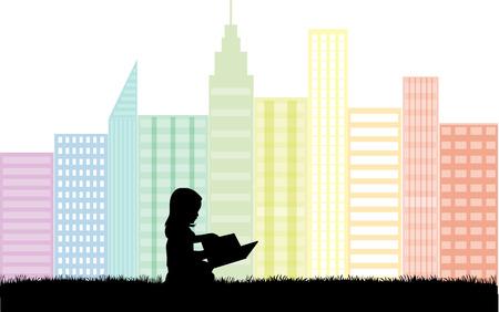 reading newspaper: children silhouette