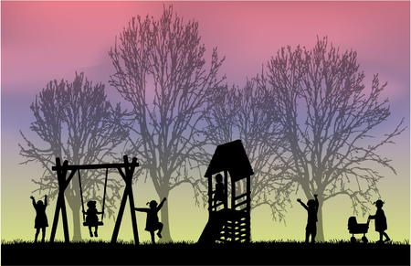 shadow people: Children at the playground.