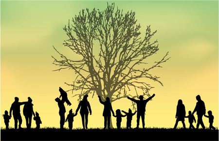 grass family: Family silhouettes Illustration