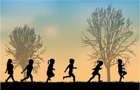 children: Дети силуэты Иллюстрация