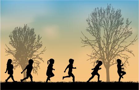 dítě: děti siluety