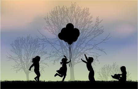 children silhouettes Vectores