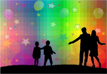 Silhouettes familiales Banque d'images - 35297000