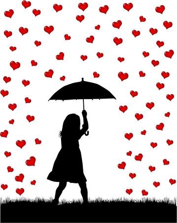 children silhouettes: girl under the umbrella