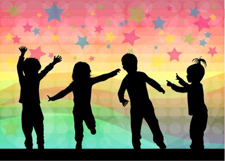 children silhouettes Çizim