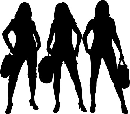 woman face: Women silhouettes Illustration