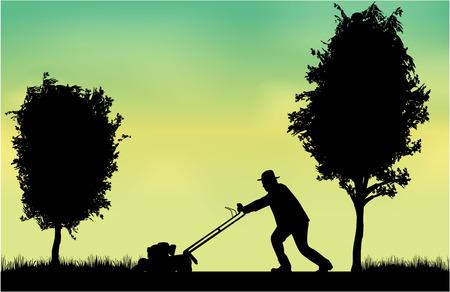 男を刈る芝生