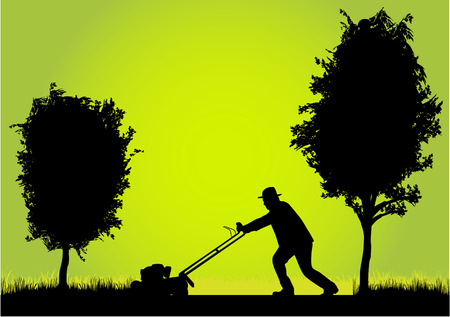 trees services: Man Mowing Lawn