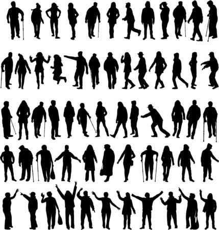 silhouette woman: Group of people Illustration