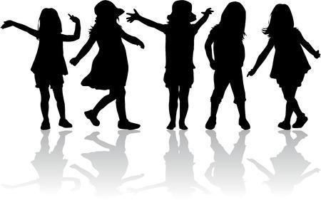 shadow people: children silhouettes Illustration