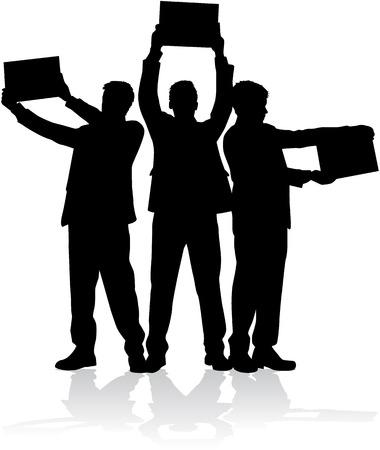 Manifestazione - un gruppo di persone che protestano Archivio Fotografico - 35297187