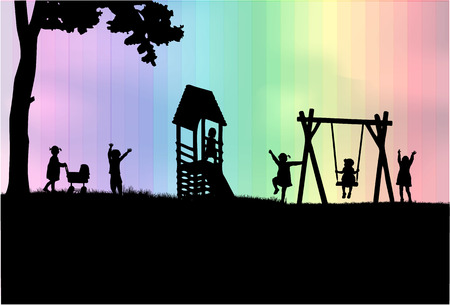 rainbow slide: Children at the playground.
