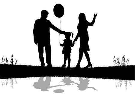 Family silhouettes  イラスト・ベクター素材