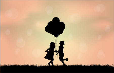 concept images: Silhouettes of children with balloon.