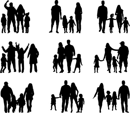 Family silhouettes Vectores