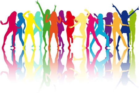 beautiful women dancing Vettoriali