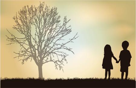 children silhouettes: children silhouette