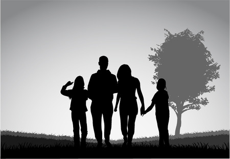 Family silhouettes Çizim