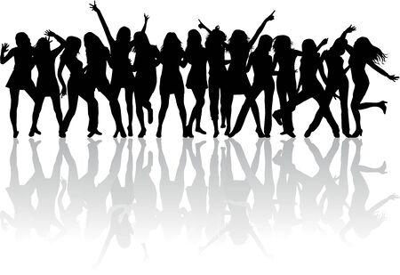 beautiful women dancing Ilustracja