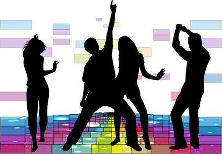 dancing silhouette: Dancing people silhouettes