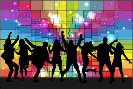 retro disco: Dancing people silhouettes