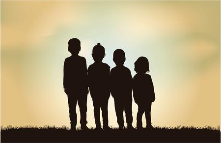children silhouettes Stock Illustratie