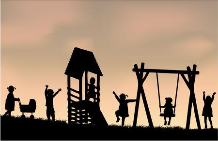 Kinderen op de speelplaats. Stock Illustratie
