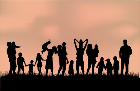 happy people: Family silhouettes Illustration